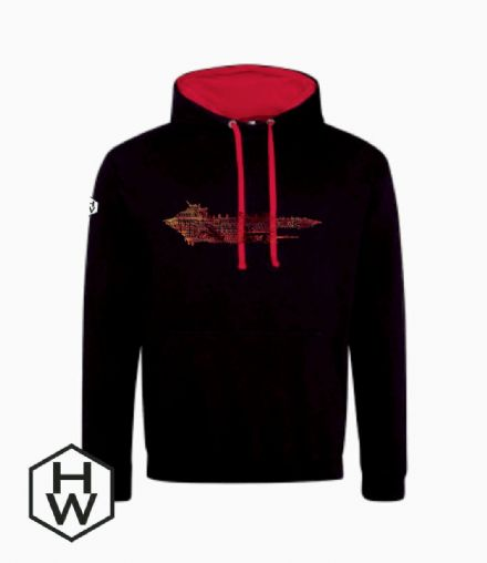 Red Gothic Nebula Contrast Hoody